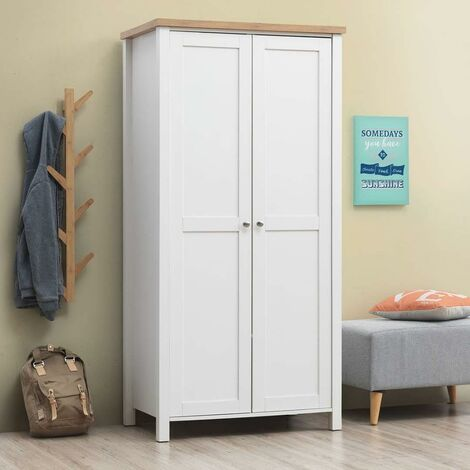 Astbury 2 Door Double Wardrobe White and Oak Bedroom Furniture