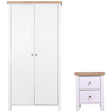 Astbury 2 Piece Bedroom Furniture Set 2 Door Wardrobe Bedside Table Cabinet