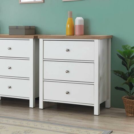 Astbury 3 Drawer Bedroom Cabinet Chest of Drawers White and Oak
