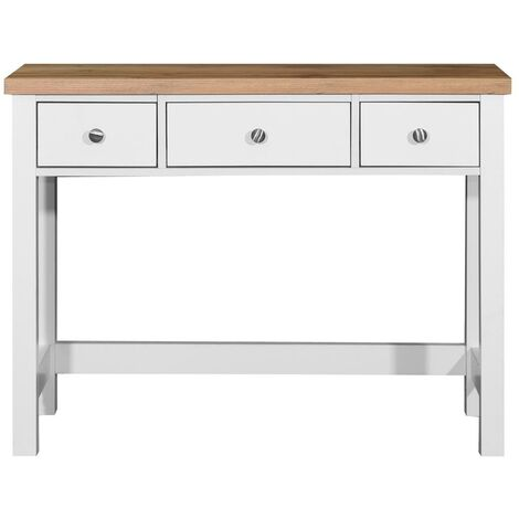 Astbury 3 Drawer Dressing Table Vanity Makeup Desk White and Oak