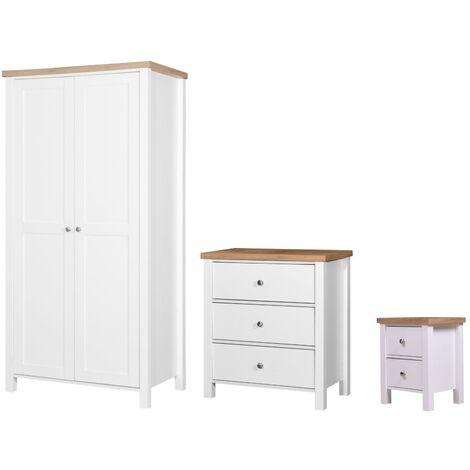 Astbury 3 Piece Bedroom Furniture Set 2 Door Wardrobe Bedside 3 Drawer Chest