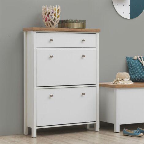 "main image of ""Astbury 3 Tier Shoe Cabinet Storage Cupboard Footwear Stand Rack Wooden White"""