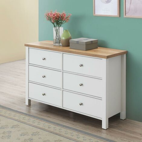 Astbury 6 Drawer Bedroom Cabinet Chest of Drawers White and Oak