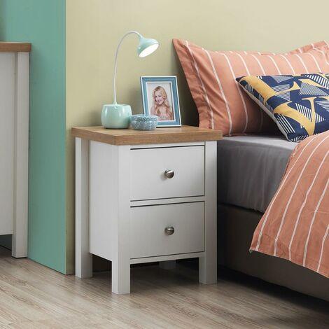 Astbury Bedside Cabinet Bedroom Furniture Nightstand Table 2 Drawer White Oak