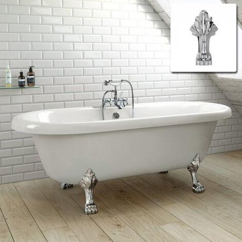 Astley White Freestanding Bath With Chrome Leg 1750 x 760 mm