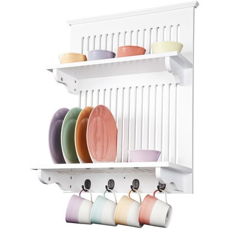 """main image of """"Aston Kitchen Plate Rack in White // Wall-mounted, with Solid Top Shelf Above and Hooks Below // Contemporary Kitchen Storage"""""""