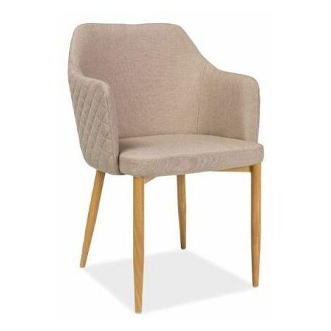 ASTOP   Chaise style scandinave bureau salle à manger   Dimensions: 84x46x46 cm   Revêtement en tissu   Chaise élégante - Beige