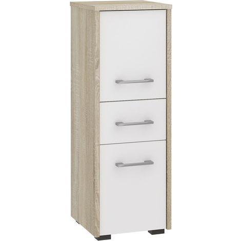 ASTORIA | Armoire Colonne de salle de bain contemporaine 85x30x30 cm | Meuble de rangement design moderne | Tiroir + 2 portes | Sonoma/Blanc