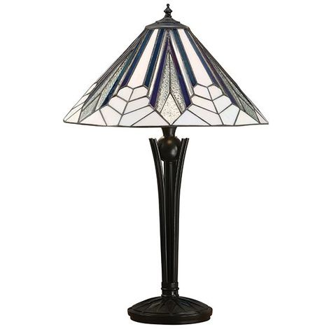 Astoria Medium Polyresin Table Lamp With Black And White Glass Shade 60W
