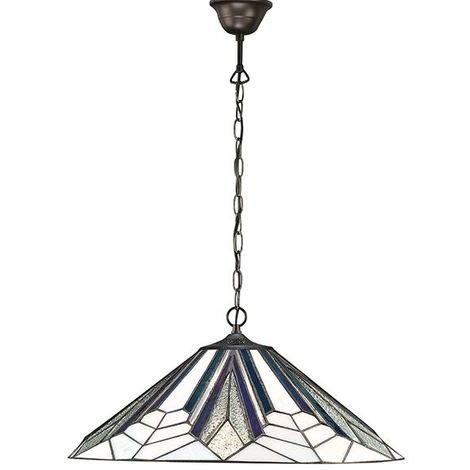 Astoria Tiffany Black & White Glass Large 1Lt Ceiling Pendant Light 60W