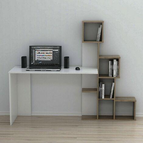 Asya Escritorio con estantes - de la sala de estar, dormitorio, estudio, oficina - Blanco, Nogal en Madera, 176 x 50 x 141,8 cm