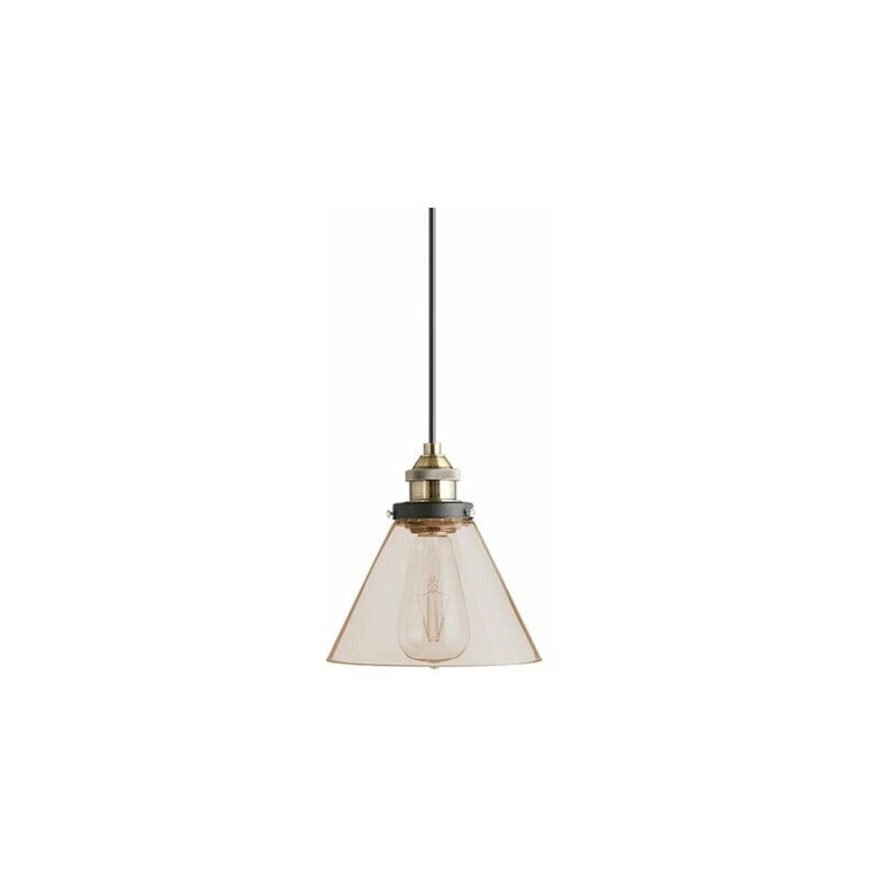Image of Jack Stonehouse - At Home Comforts Amber Brass Pendant Light - Conical