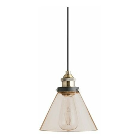 At Home Comforts Amber Brass Pendant Light - Conical