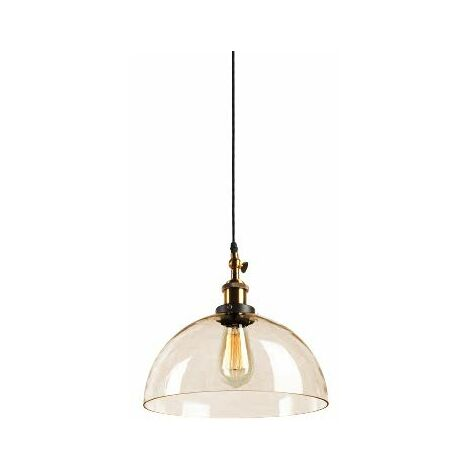 At Home Comforts Amber Brass Pendant Light - Dome