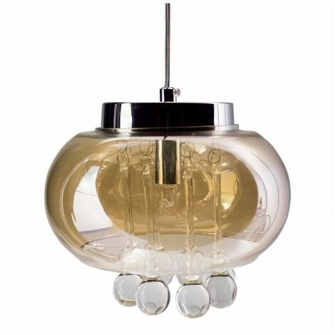 At Home Comforts Amber Glass Crystal Chandelier
