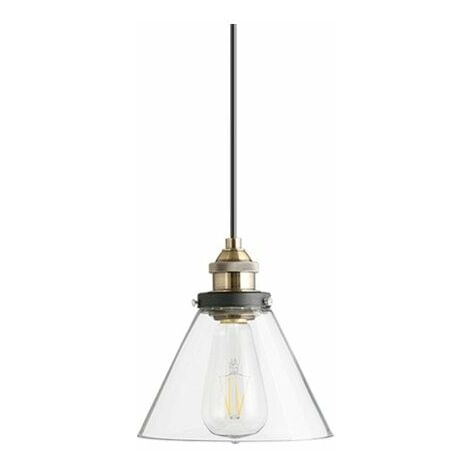 At Home Comforts Clear Brass Pendant Light - Conical