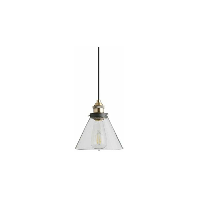 Image of Jack Stonehouse - At Home Comforts Grey Brass Pendant Light - Conical