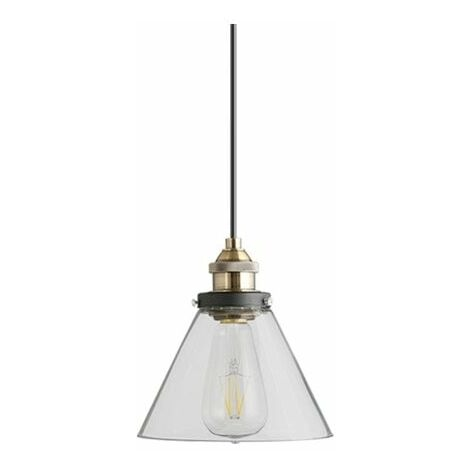 At Home Comforts Grey Brass Pendant Light - Conical