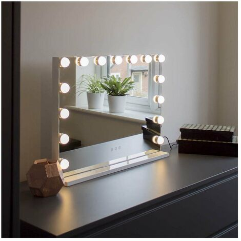 At Home Comforts Hollywood Landscape Mirror - 15 LED bulbs - White/silver