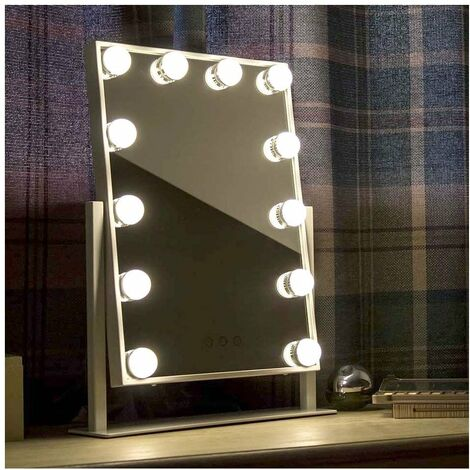 At Home Comforts Hollywood Portrait Mirror - 12 LED bulbs - White