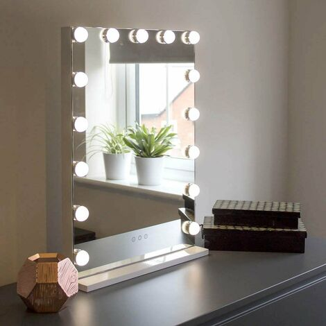 At Home Comforts Hollywood Portrait Mirror - 15 LED bulbs - White/silver