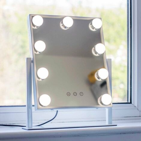 At Home Comforts Hollywood Portrait Mirror - 9 LED bulbs - White