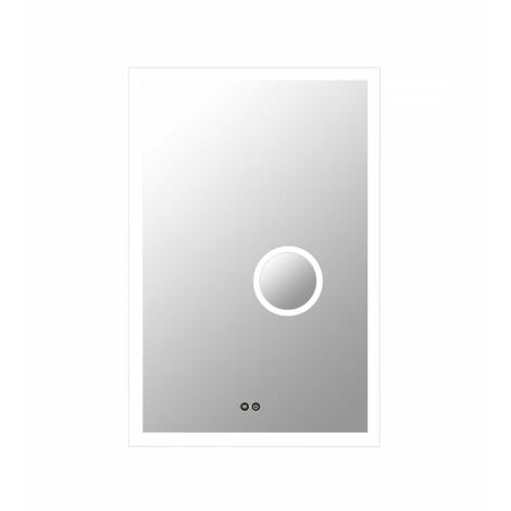 At Home Comforts Rectangular LED Illuminated Bathroom Mirror with Demister and Magnifier - Silver