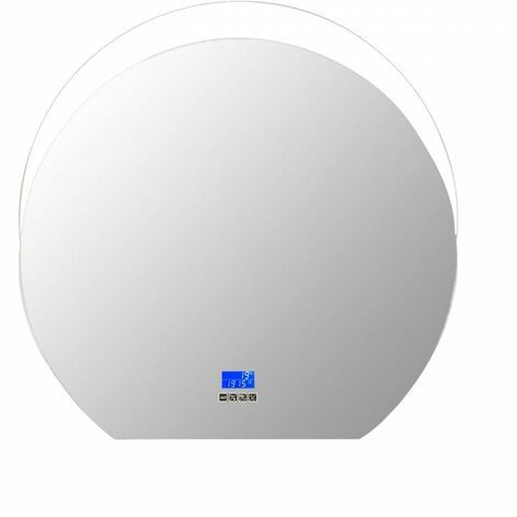 At Home Comforts Round LED Illuminated Bathroom Mirror with Bluetooth Speaker and Demister - Silver