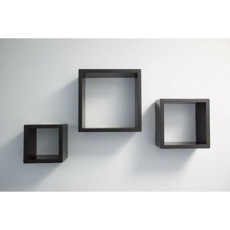 At Home Comforts Set of 3 Black Cube Shelves