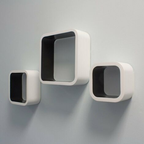 At Home Comforts Set of 3 White and Black Cube Shelves - White/black