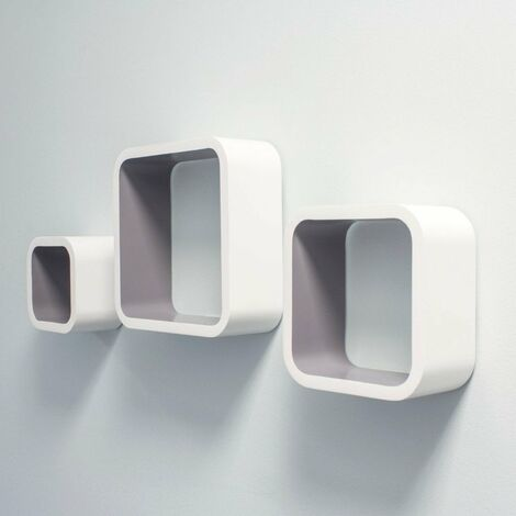 At Home Comforts Set of 3 White and Grey Cube Shelves - White/grey