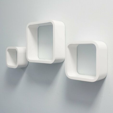 At Home Comforts Set of 3 White Cube Shelves