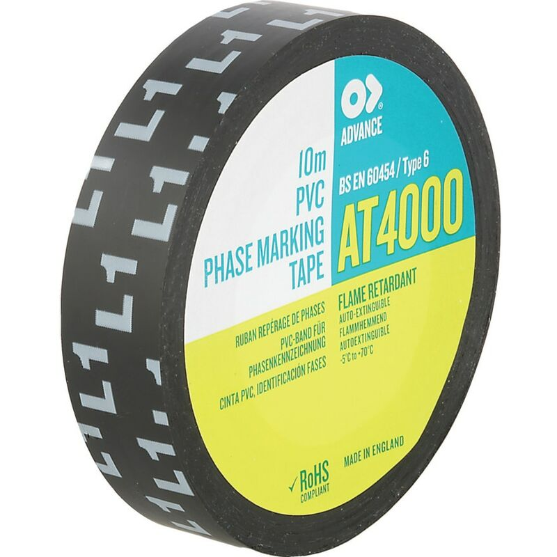 Image of Advance AT4000 L1 Black 15MMX10MPHASE Marking Tape