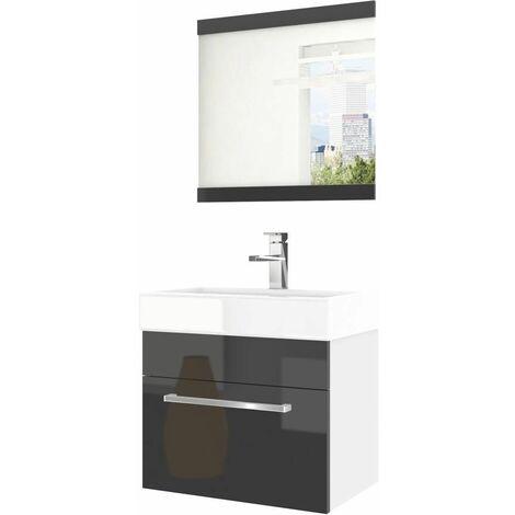 ATAUN | Ensemble meubles salle de bain 3 pcs 50cm | Miroir + Lavabo + Meuble sous lavabo | Vasque céramique - Noir/Blanc