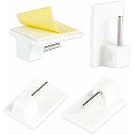 Ateliers 28 Accessoire de vitrage 4 Supports Adhesifs Plastique Blanc