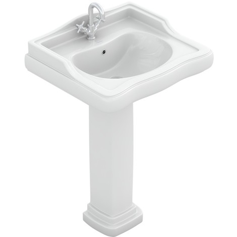 ATENAS Lavabo con Pedestal | Blanco - Sin Pedestal