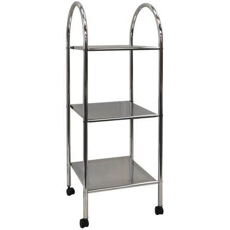 ATHENA - 3 Tier Metal Bathroom Storage Shelves / Trolley with Castors - Silver