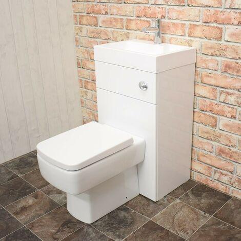 Athena 500mm Gloss White WC & Basin Combi (Inc. Euro Pan, Basin, Cistern)