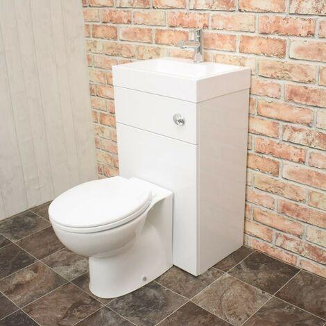 Athena 500mm Gloss White WC & Basin Combi (Inc. Pan, Basin, Cistern)