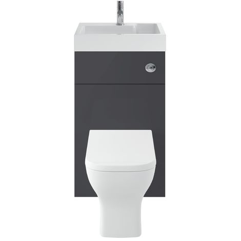 Athena 500mm Grey Gloss WC/Basin Unit Combi & Cisten (Exc. Pan & Seat)