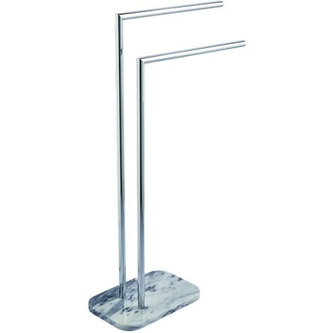 Athena Freestanding Double Towel Rail, Marble & Chrome