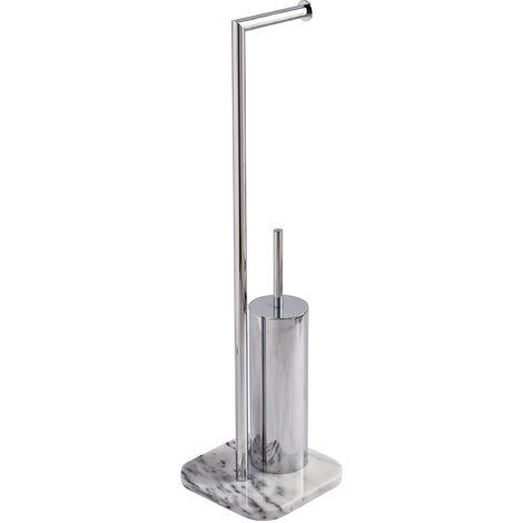 Athena Freestanding Toilet Roll Holder & Brush, Marble & Chome