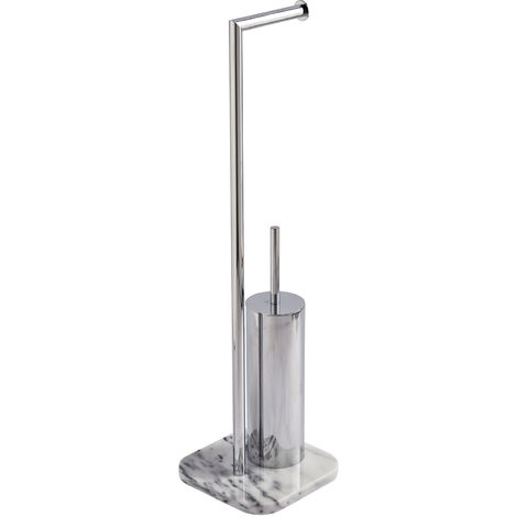 Athena Freestanding Toilet Roll Holder & Brush, Marble & Chome