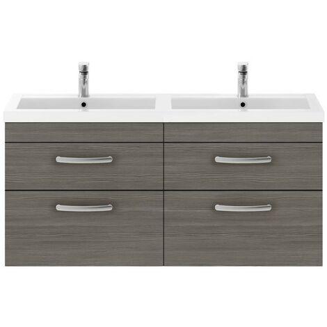Athena Grey Avola 1200mm Wall Hung 4 Drawer Cabinet & Double Basin