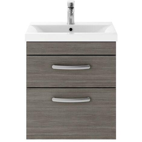 Athena Grey Avola 500mm Wall Hung 2 Drawer Cabinet & Minimalist Basin