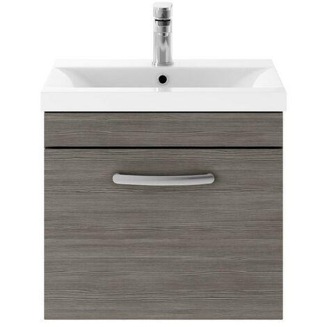 Athena Grey Avola 500mm Wall Hung Single Drawer Cabinet & Minimalist Basin