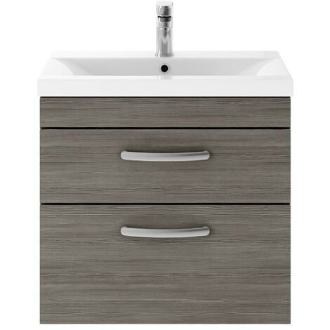 Athena Grey Avola 600mm Wall Hung 2 Drawer Cabinet & Minimalist Basin