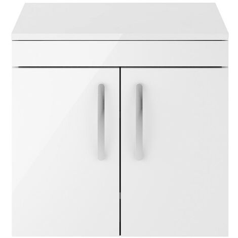 """main image of """"Athena White Gloss 600mm Wall Hung 2 Door Cabinet & Worktop"""""""