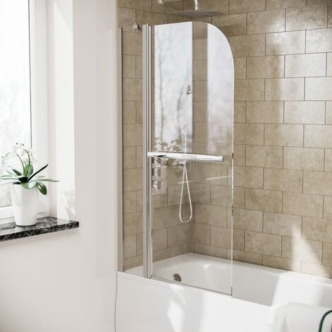Athens Curved Top Bath Shower Screen with Support Bar