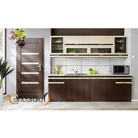 ATIU III | Cuisine Complète L 260cm | Plan de travail INCLUS | Meubles ensemble cuisine moderne linéaire élégante | Portes vitrées | Chêne/Wenge